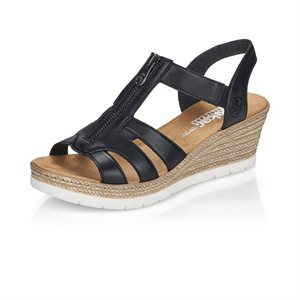 Black Wedge Heel Sandal 619C1-00