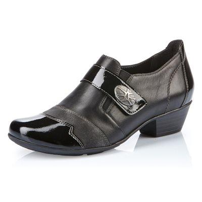 Black Orthotic Friendly Heel Shoes D7333-01