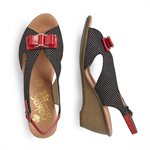 Black Combo Wedge Sandal V1171-00